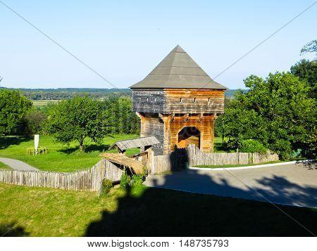Old wooden watchtower in village Subotiv Ukraine
