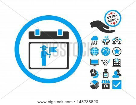 National Holiday Day icon with bonus pictograph collection. Vector illustration style is flat iconic bicolor symbols, blue and gray colors, white background.