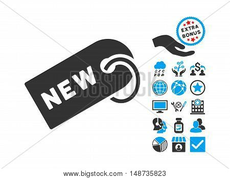 New Tag icon with bonus icon set. Vector illustration style is flat iconic bicolor symbols, blue and gray colors, white background.