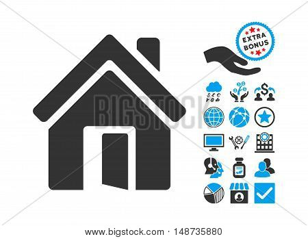 Open House Door icon with bonus pictures. Vector illustration style is flat iconic bicolor symbols, blue and gray colors, white background.