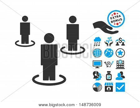People pictograph with bonus pictogram. Vector illustration style is flat iconic bicolor symbols, blue and gray colors, white background.