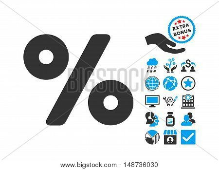 Percent icon with bonus pictogram. Vector illustration style is flat iconic bicolor symbols, blue and gray colors, white background.