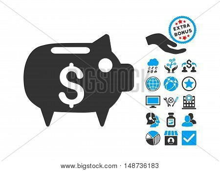 Piggy Bank icon with bonus design elements. Vector illustration style is flat iconic bicolor symbols, blue and gray colors, white background.