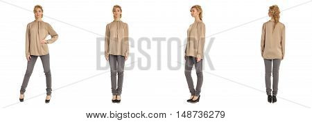 Cute Woman In Mixed Blouse Isolated On White Background