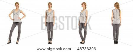 Cute Woman In Gray Blouse Isolated On White Background
