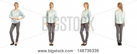 Cute Woman In Turquoise Blouse Isolated On White Background