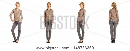 Cute Woman In; Brown Shirt Isolated On White Background