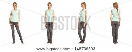 Cute Woman In Turquoise Shirt Isolated On White Background