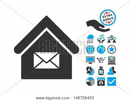 Post Office icon with bonus pictures. Vector illustration style is flat iconic bicolor symbols, blue and gray colors, white background.
