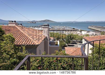 View of San Francisco bay with Alcatraz island California.