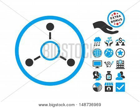 Radial Structure icon with bonus images. Vector illustration style is flat iconic bicolor symbols, blue and gray colors, white background.