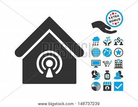 Radio Station pictograph with bonus pictograph collection. Vector illustration style is flat iconic bicolor symbols, blue and gray colors, white background.
