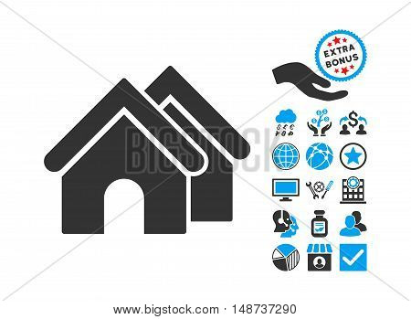 Real Estate icon with bonus images. Vector illustration style is flat iconic bicolor symbols, blue and gray colors, white background.