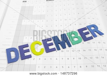December - monthly on date number calendar paper - colorful uppercase letter December month