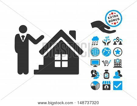 Realty Agent pictograph with bonus pictograph collection. Vector illustration style is flat iconic bicolor symbols, blue and gray colors, white background.