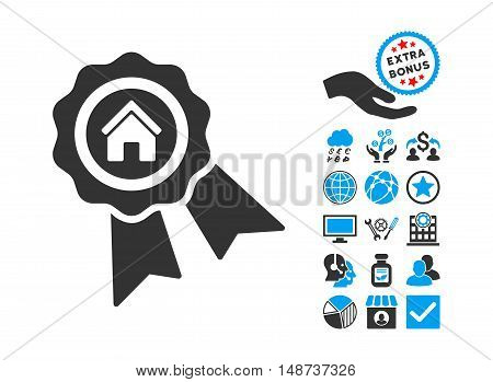 Realty Award pictograph with bonus elements. Vector illustration style is flat iconic bicolor symbols, blue and gray colors, white background.