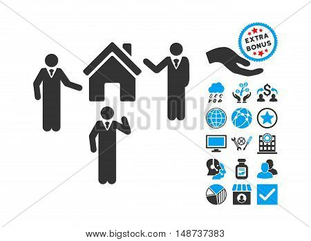 Realty Discuss Persons pictograph with bonus clip art. Vector illustration style is flat iconic bicolor symbols, blue and gray colors, white background.