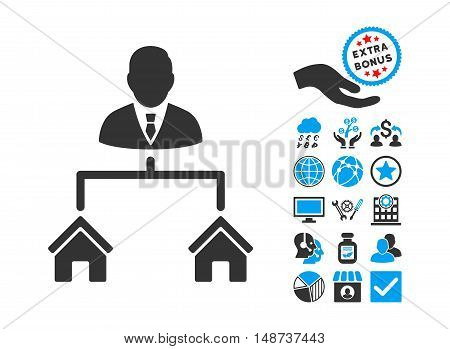 Realty Manager pictograph with bonus pictogram. Vector illustration style is flat iconic bicolor symbols, blue and gray colors, white background.