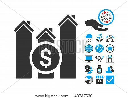 Realty Price Charts icon with bonus symbols. Vector illustration style is flat iconic bicolor symbols, blue and gray colors, white background.