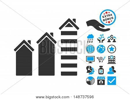 Realty Trend pictograph with bonus pictograph collection. Vector illustration style is flat iconic bicolor symbols, blue and gray colors, white background.