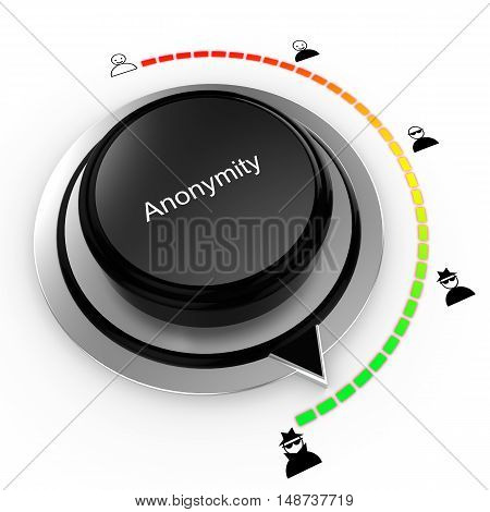 Anonymity concept with a rotary knob increasing the disguise level safe internet surfing 3D illustration
