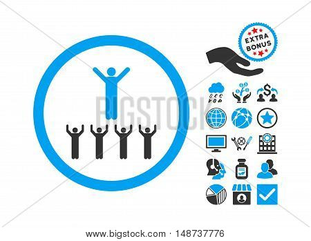 Religion Adepts icon with bonus design elements. Vector illustration style is flat iconic bicolor symbols, blue and gray colors, white background.
