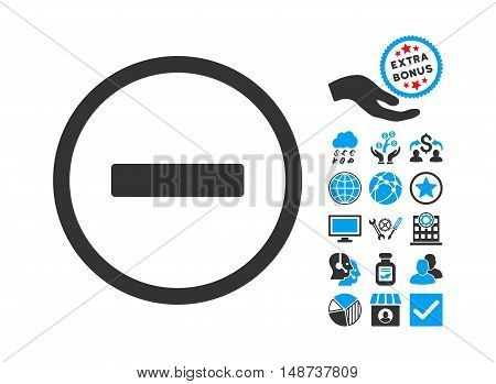 Remove pictograph with bonus icon set. Vector illustration style is flat iconic bicolor symbols, blue and gray colors, white background.