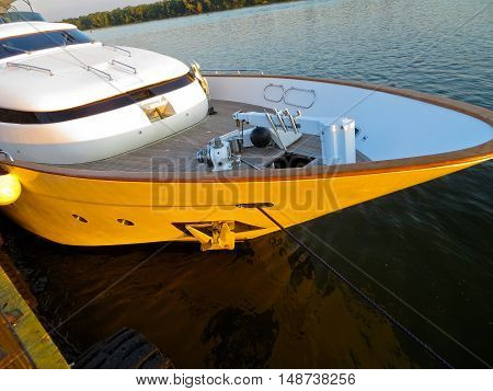 Modern river yacht moored on a river Dnieper