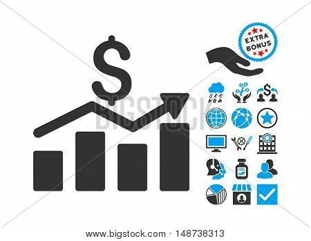 Sales Chart pictograph with bonus pictograph collection. Vector illustration style is flat iconic bicolor symbols, blue and gray colors, white background.