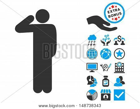 Salute Pose pictograph with bonus pictograph collection. Vector illustration style is flat iconic bicolor symbols, blue and gray colors, white background.