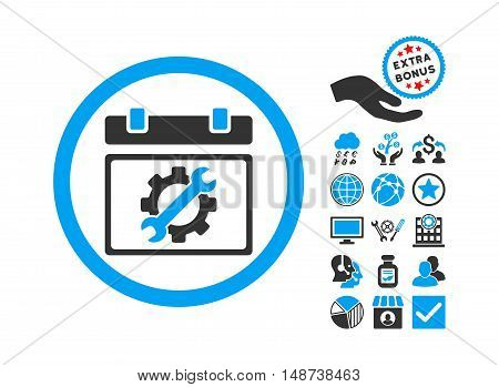 Service Day pictograph with bonus elements. Vector illustration style is flat iconic bicolor symbols, blue and gray colors, white background.
