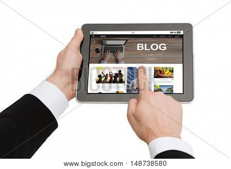 business, blogging, internet and technology concept - close up of man hands holding tablet pc computer with internet blog page on screen