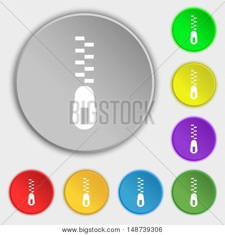 Zipper Icon Sign. Symbol On Eight Flat Buttons. Vector