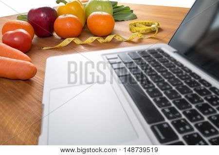 Lap Top With Fresh Fruit