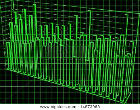 3d barcharts financial data in retro computer scan look graphic