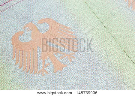 ShanghaiChina 09/25/2016 Closeup of an empty page of a german passport with the eagle symbol