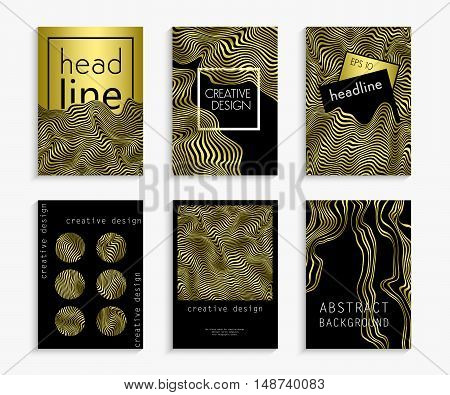 Set creative hand drawn cards in gold and black colors. Wavy striped vector background. Deformed space. Abstract curved lines. Festive design. Zebra effect. Vector illustration for your design. Eps 10