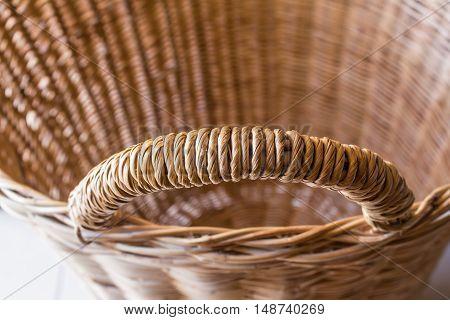 Handle basket, Brown wicker basket texture background.