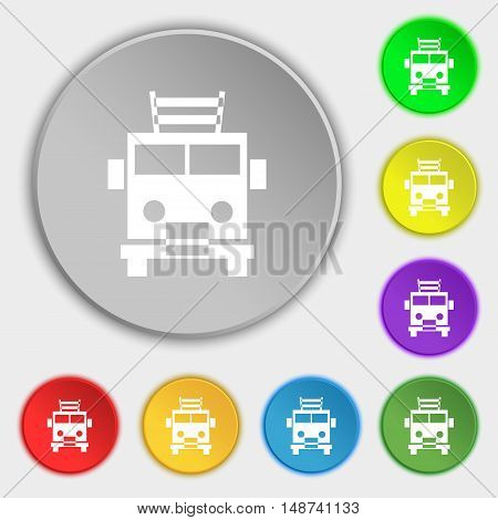 Fire Engine Icon Sign. Symbol On Eight Flat Buttons. Vector