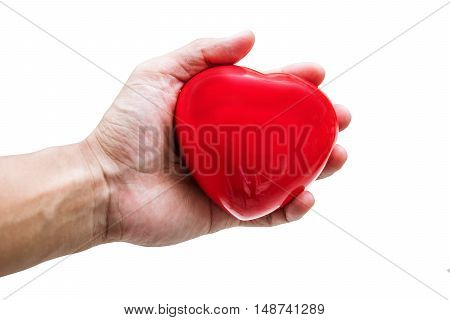 Hand holding, giving, receiving, sharing red heart, isolated on white background