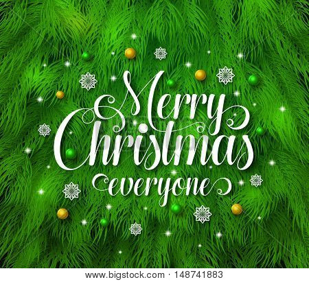 Merry christmas greetings typography in green pine leaves background with snowflakes and christmas balls. Vector illustration