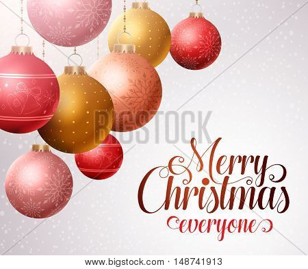 Merry christmas background with hanging colorful christmas balls and white space for greetings. Vector illustration.