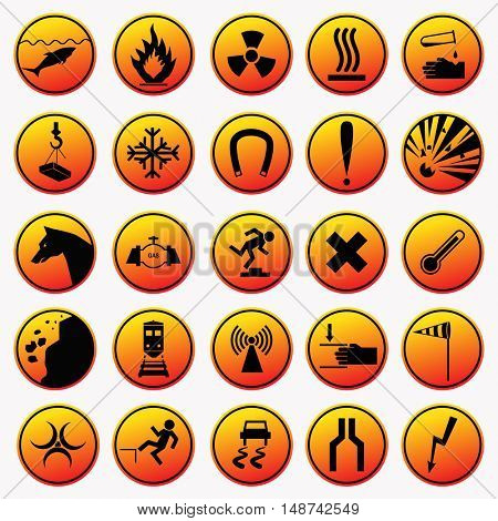 Set of warning and danger signs. Orange caution icons. Collection of attention symbols and hazard signals. Vector illustration isolated on white