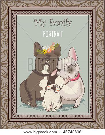 cute bulldog family portrait with frame. vector illustration