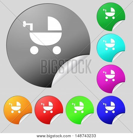 Baby Stroller Icon Sign. Set Of Eight Multi Colored Round Buttons, Stickers. Vector