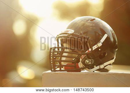 Rugby helmet, closeup
