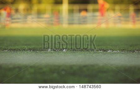 Artificial turf on football field