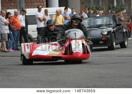 BELGRADE,SERBIA - SEPTEMBER 10, 2016: Oldtimer sidecar motorcycle at the commercial race of old cars in memory of formula 1 race held on the same place in 1939 two days after the beginning of Second World War when the famous Italian driver Tazio Nuvolari