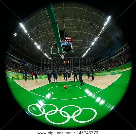 RIO DE JANEIRO, BRAZIL - AUGUST 10, 2016:  Team United States prepares for group A basketball match between Team USA and Australia of the Rio 2016 Olympic Games at Carioca Arena 1