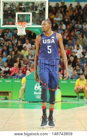 RIO DE JANEIRO, BRAZIL - AUGUST 10, 2016: Olympic champion Kevin Durant of Team USA in action at group A basketball match between Team USA and Australia of the Rio 2016 Olympic Games
